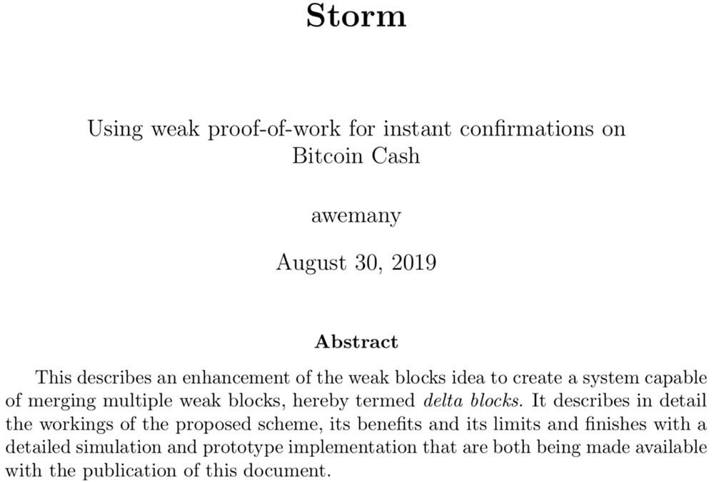 El nuevo concepto de tormenta podría fortalecer las transacciones instantáneas de Bitcoin Cash